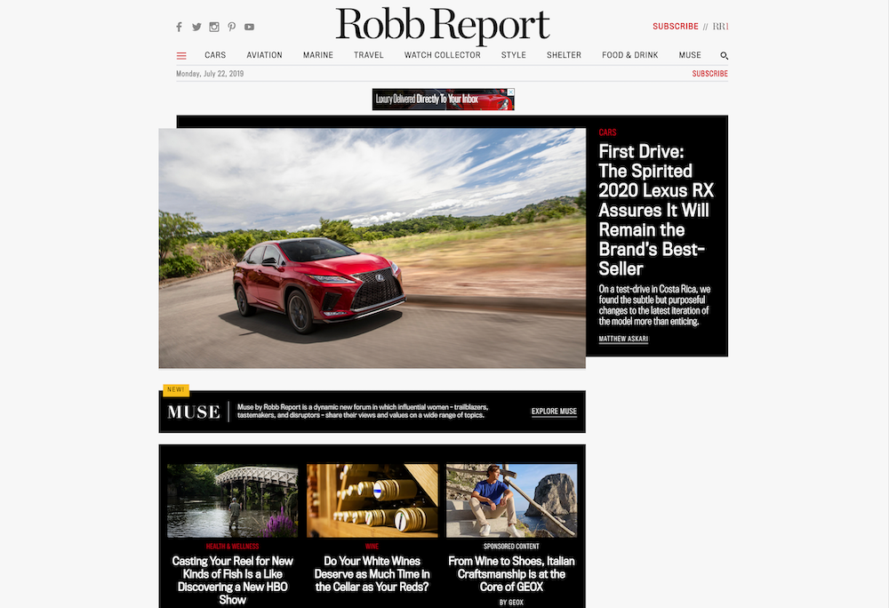 best luxury magazine Robb Report - Luxe Digital