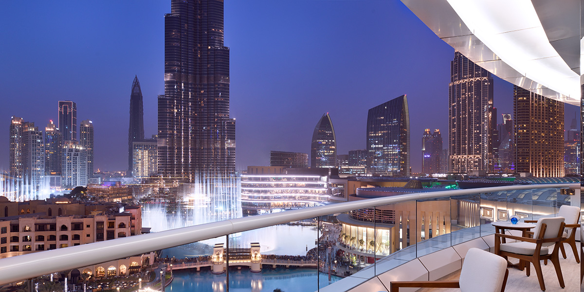 Luxe Digital luxury hotel Dubai Address Downtown Burj Khalifa fountain