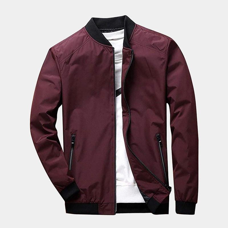 best burgundy bomber jacket men PrettyChic luxury style - Luxe Digital