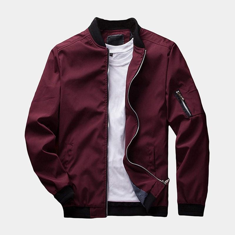 best red bomber jacket men Sandbank luxury style - Luxe Digital