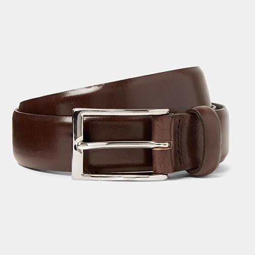J.CREW Dark-Brown Glossed-Leather Belt