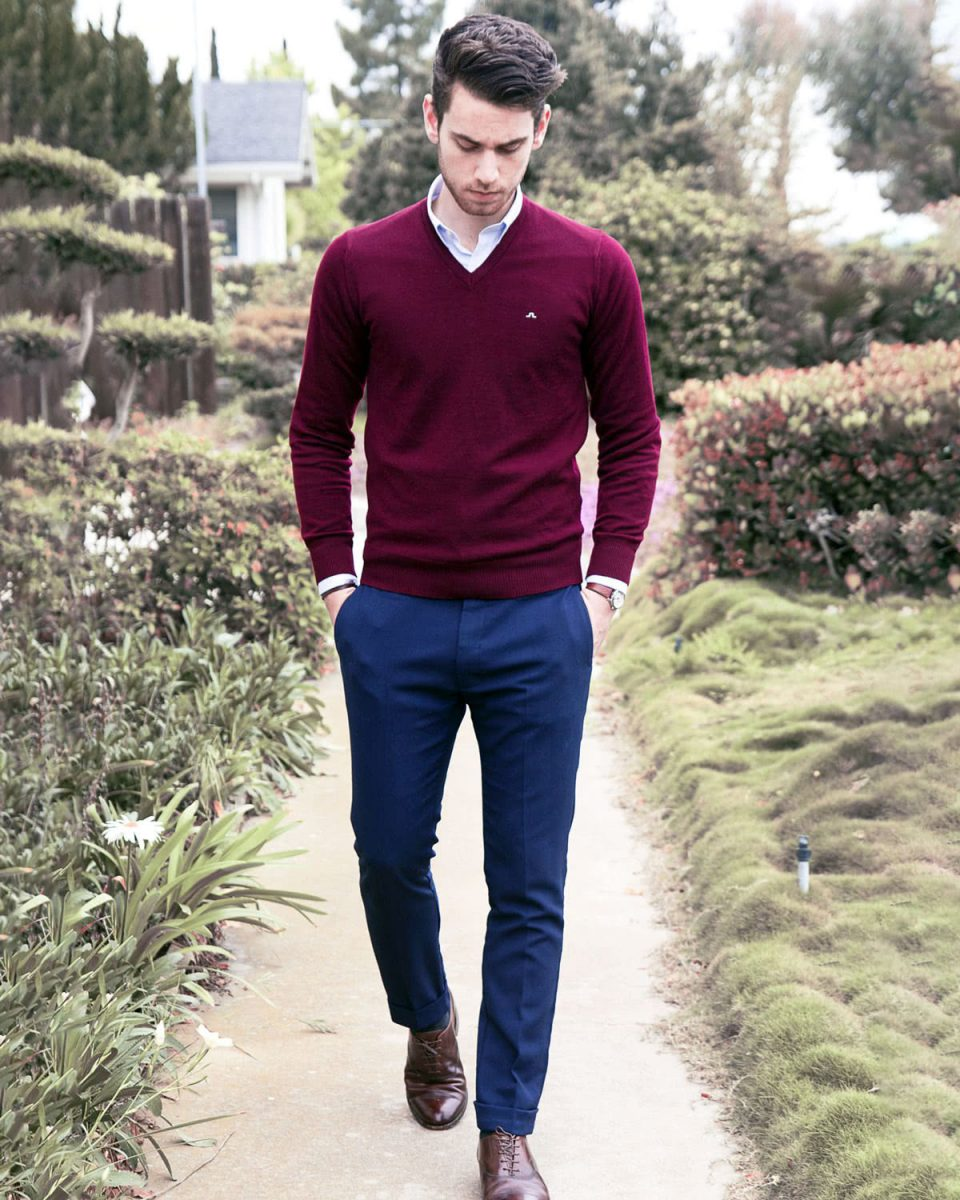You can wear knitwear over your shirt for a seasonal smart casual look