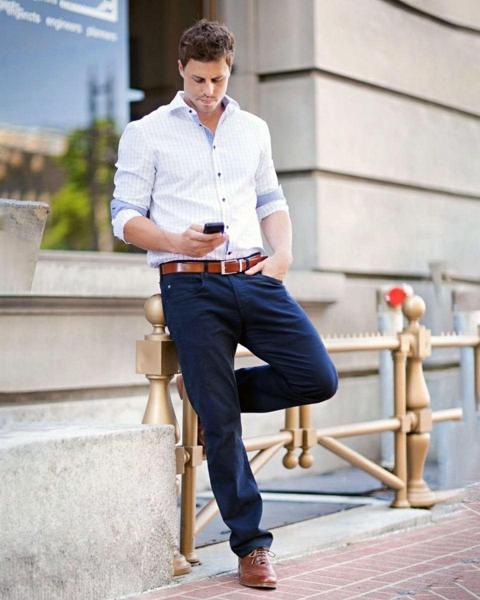 A safe version of the smart casual look for the after-hours office drinks