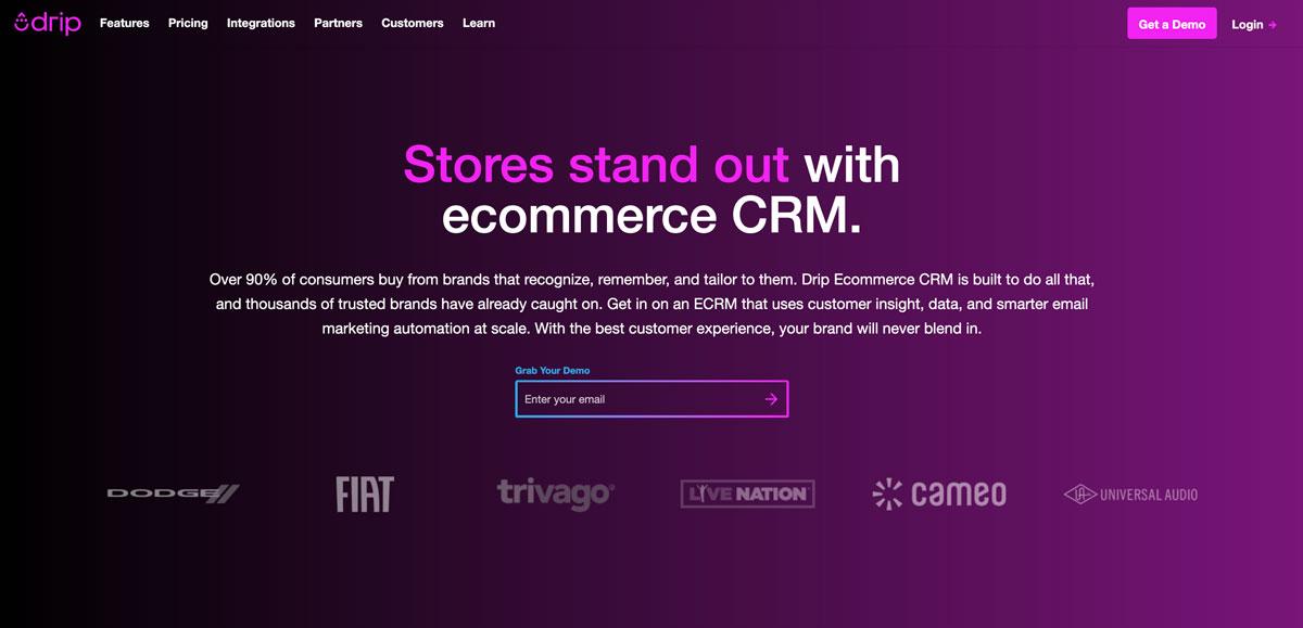 drip ecommerce customer relationship management best D2C - Luxe Digital