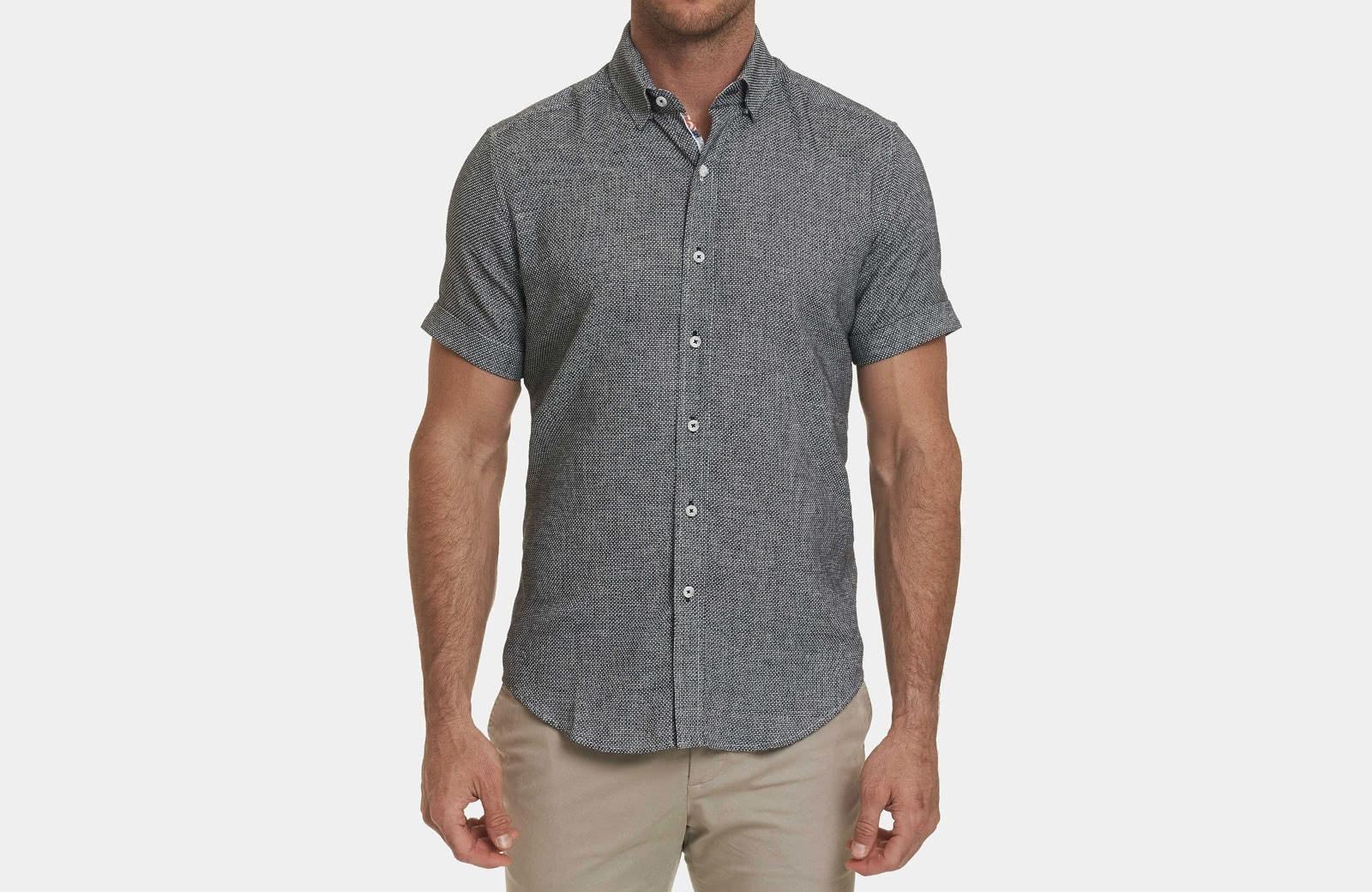 Robert Graham best men summer designer short sleeve shirt black - Luxe Digital