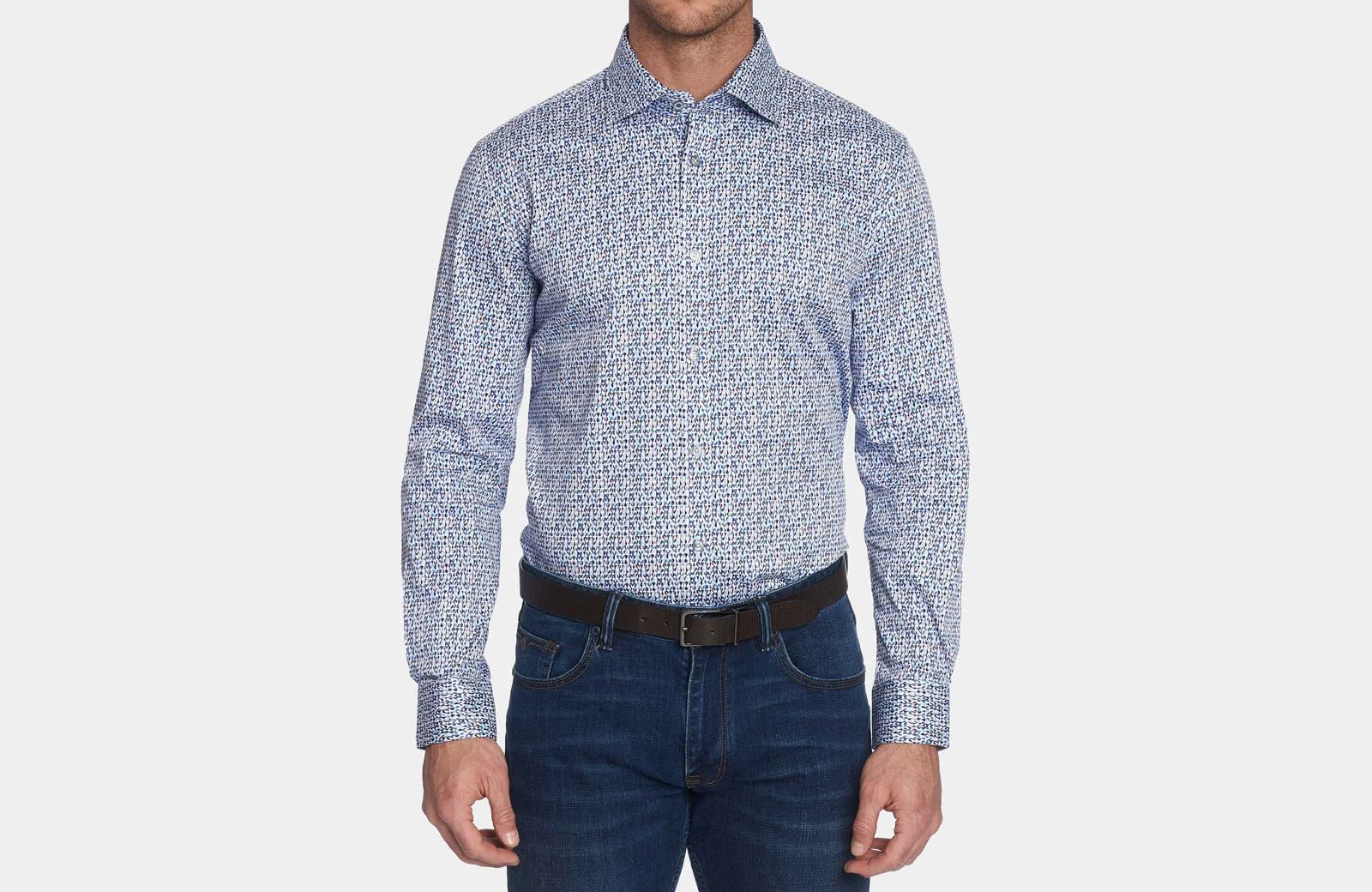 Robert Graham best men summer dress shirt blue pattern - Luxe Digital