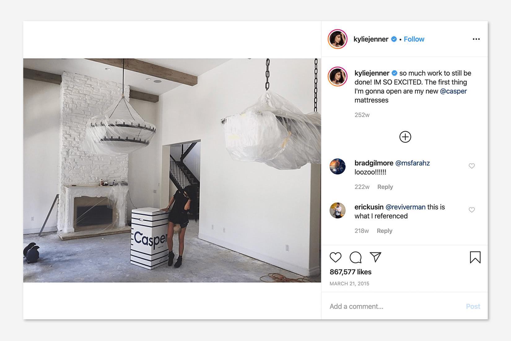 Kylie Jenner Casper Instagram post DTC luxury - Luxe Digital