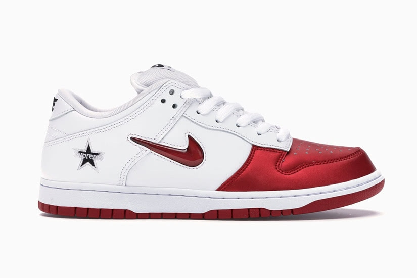 Nike x Supreme SB dunk jewel swoosh red men collaboration sneakers - Luxe Digital