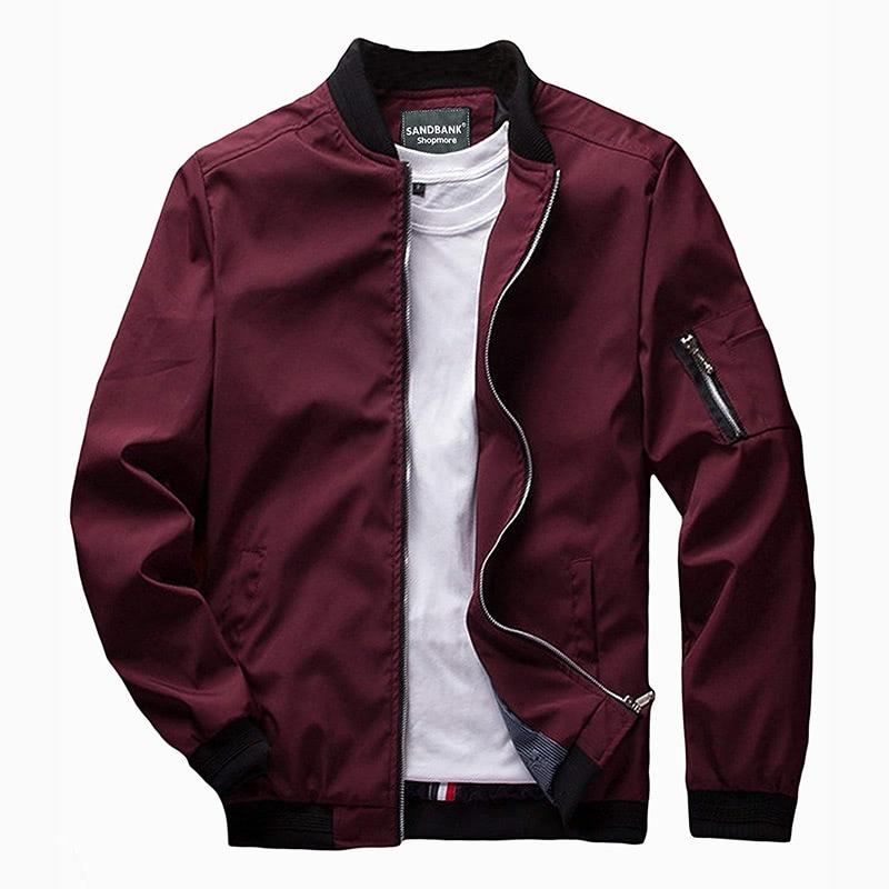 sandbank best burgundy bomber jacket men - Luxe Digital