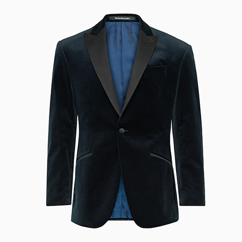 black tie men velvet navy tuxedo jacket - Luxe Digital