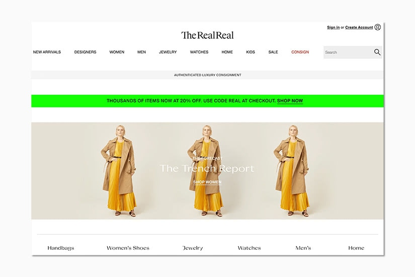 best women online shopping sites the realreal - Luxe Digital