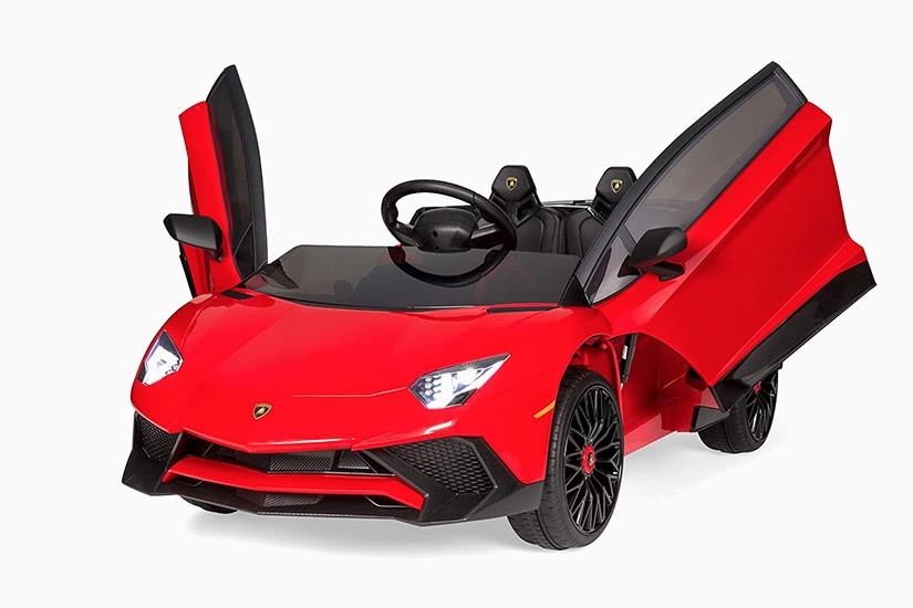 best electric cars kids lamborghini aventador 12v battery powered ride-on premium - Luxe Digital