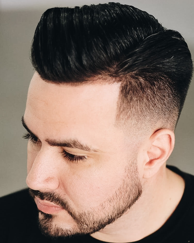 best short haircuts men pompadour taper fade - Luxe Digital