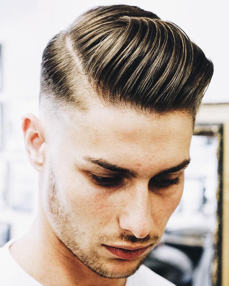 best short haircuts men slicked back side part - Luxe Digital
