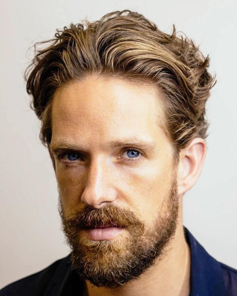 best medium length hairstyles men natural slicked-back - Luxe Digital