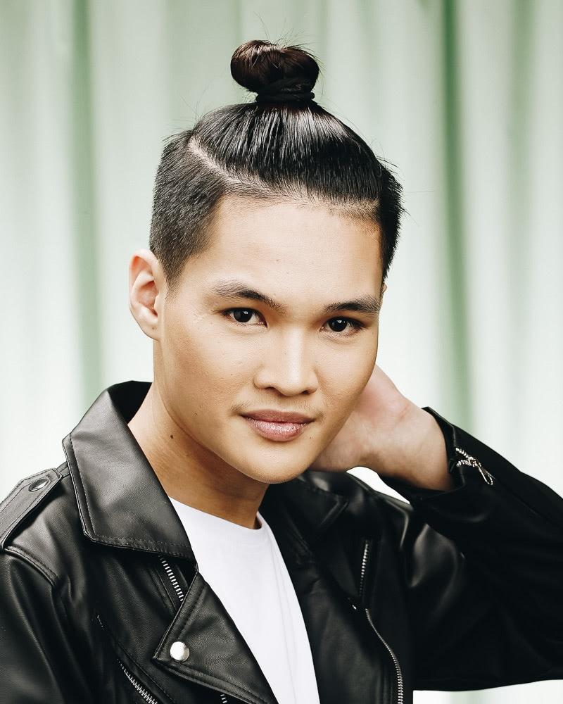 best medium length hairstyles men top bun - Luxe Digital
