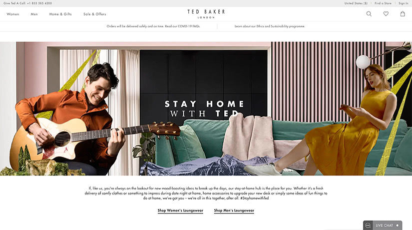 ted baker website luxury stay-at-home economy - Luxe Digital