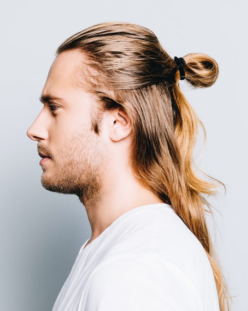 best long hairstyles men half up - Luxe Digital