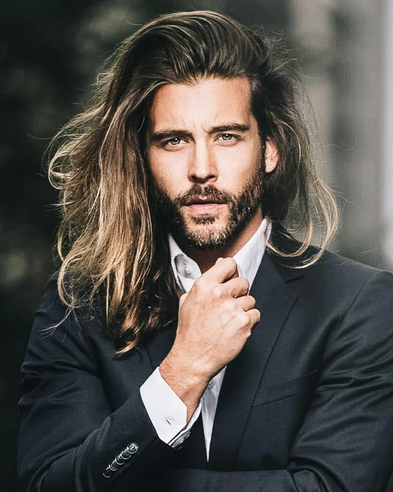 best long hairstyles men side part - Luxe Digital