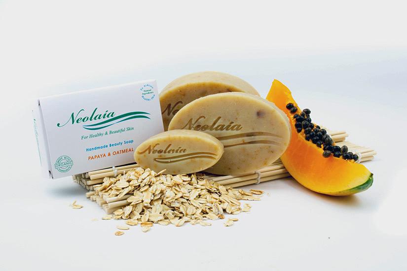handmade natural beauty soap bars neolaia oatmeal papaya luxe digital