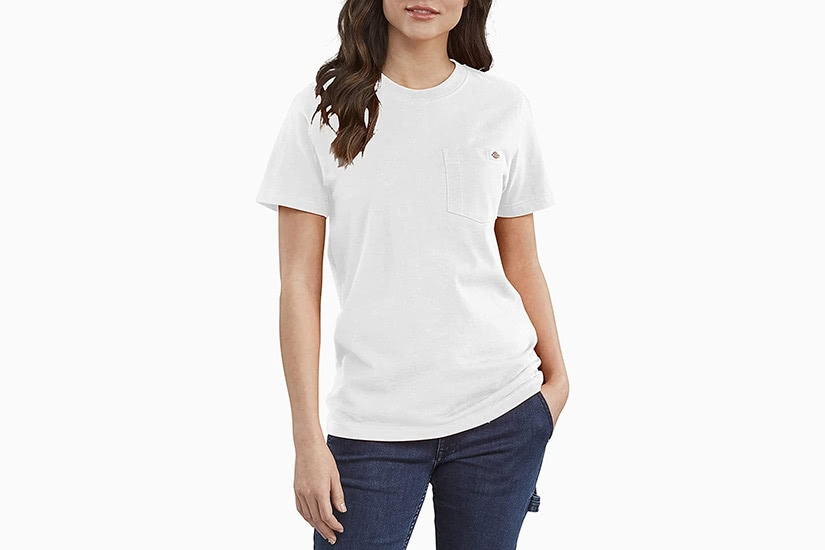 best white t-shirt women dickies heavyweight tee luxe digital