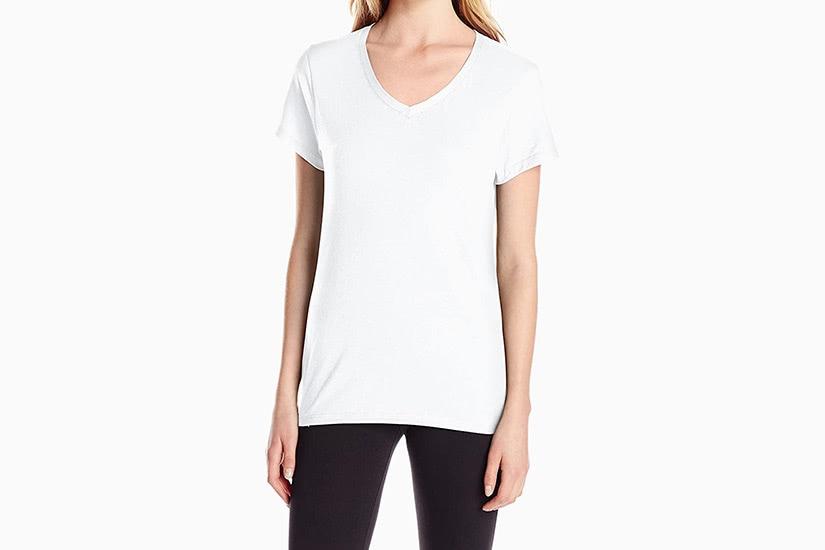best white t-shirt women hanes v-neck tee luxe digital