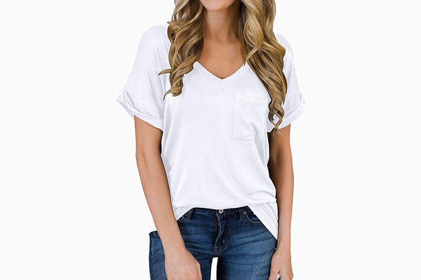 best white t-shirt women miholl v-neck tee luxe digital