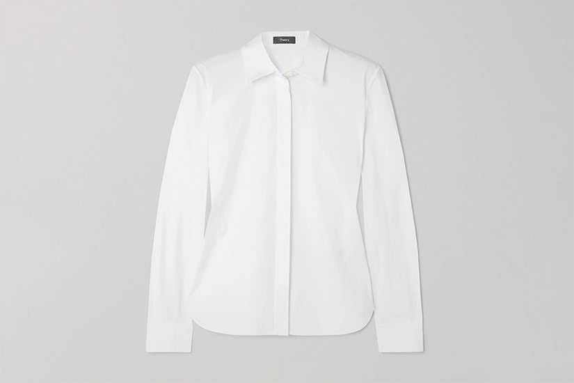 best white shirts women theory luxe digital