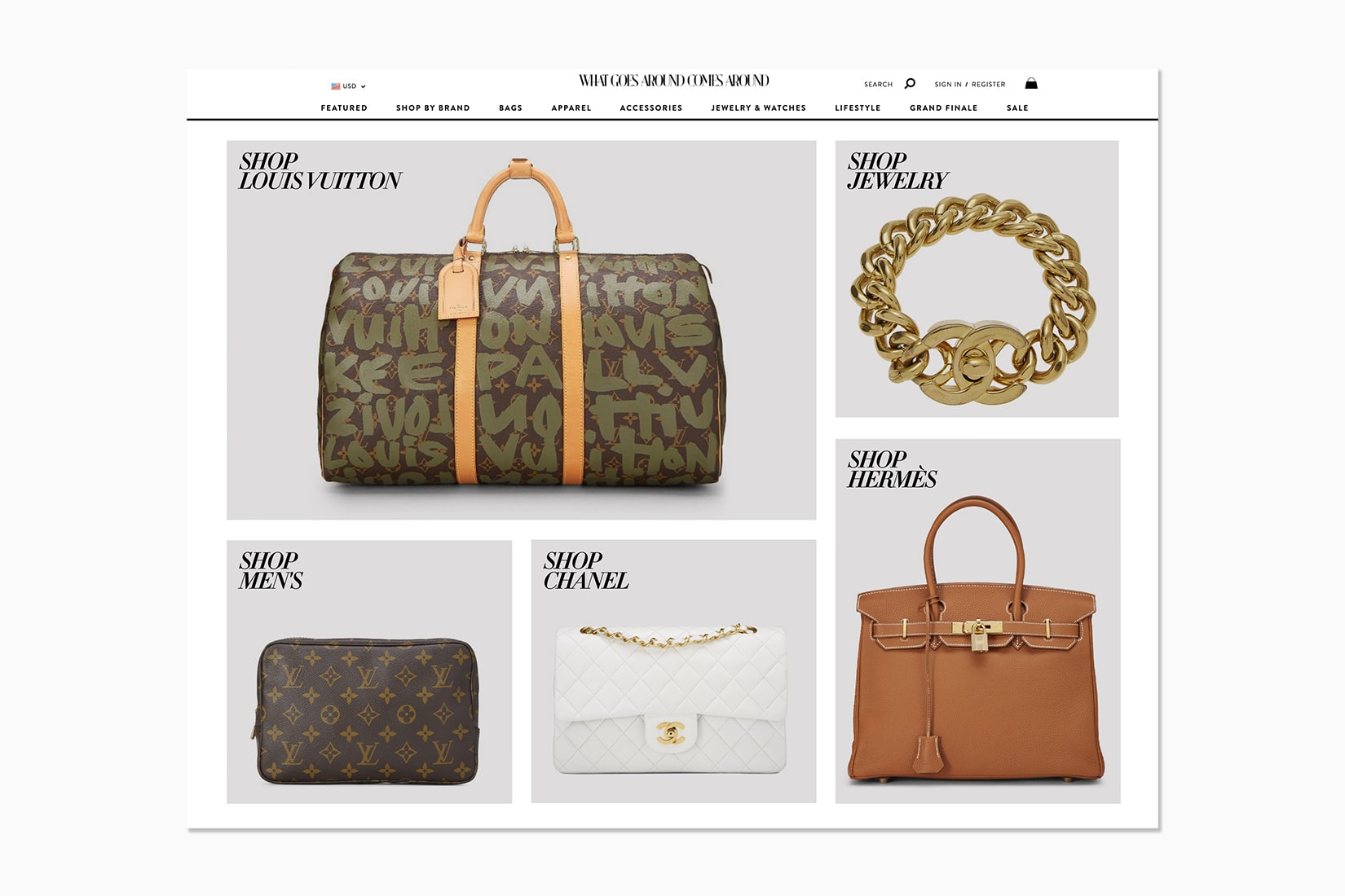 best luxury private sales website what goes around comes around - Luxe Digital