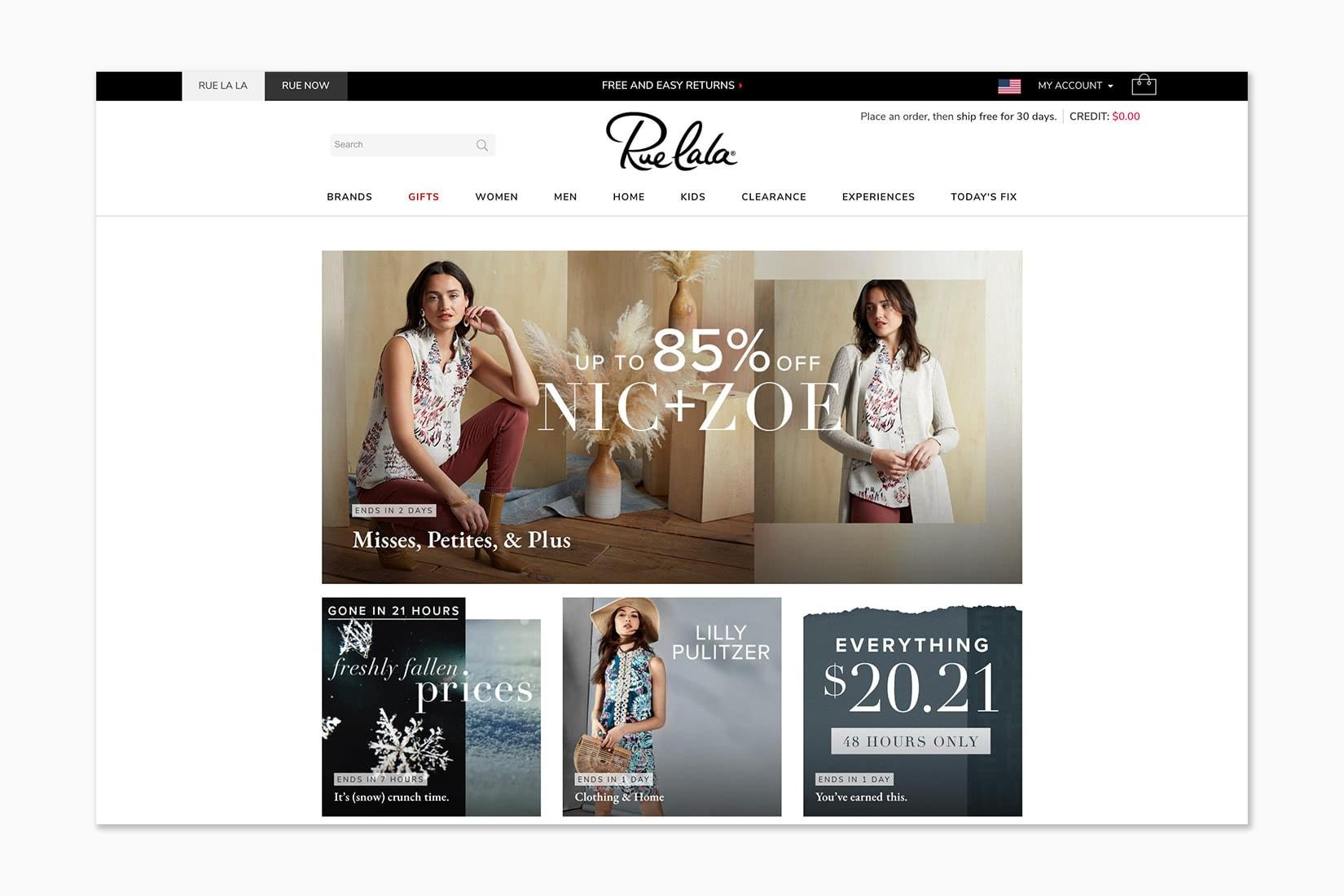 best online shopping sites women rue la la - Luxe Digital