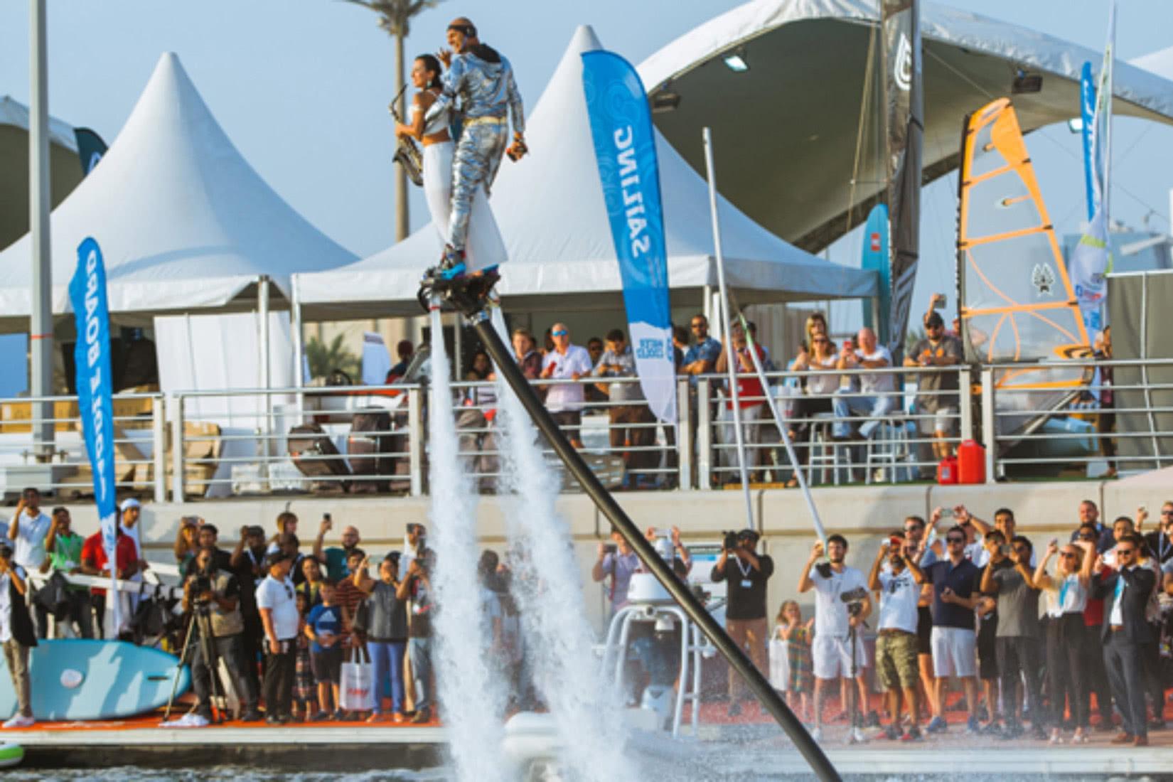 Abu Dhabi International Boat Show 2021 flyboarders - Luxe Digital