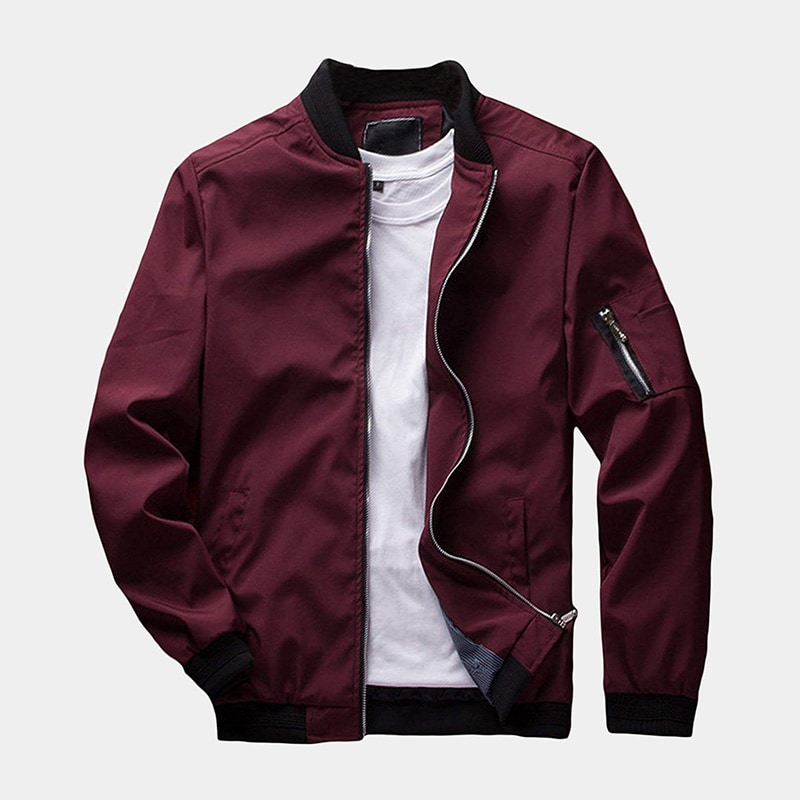 best red bomber jacket men Sandbank luxury style - Luxe Digital