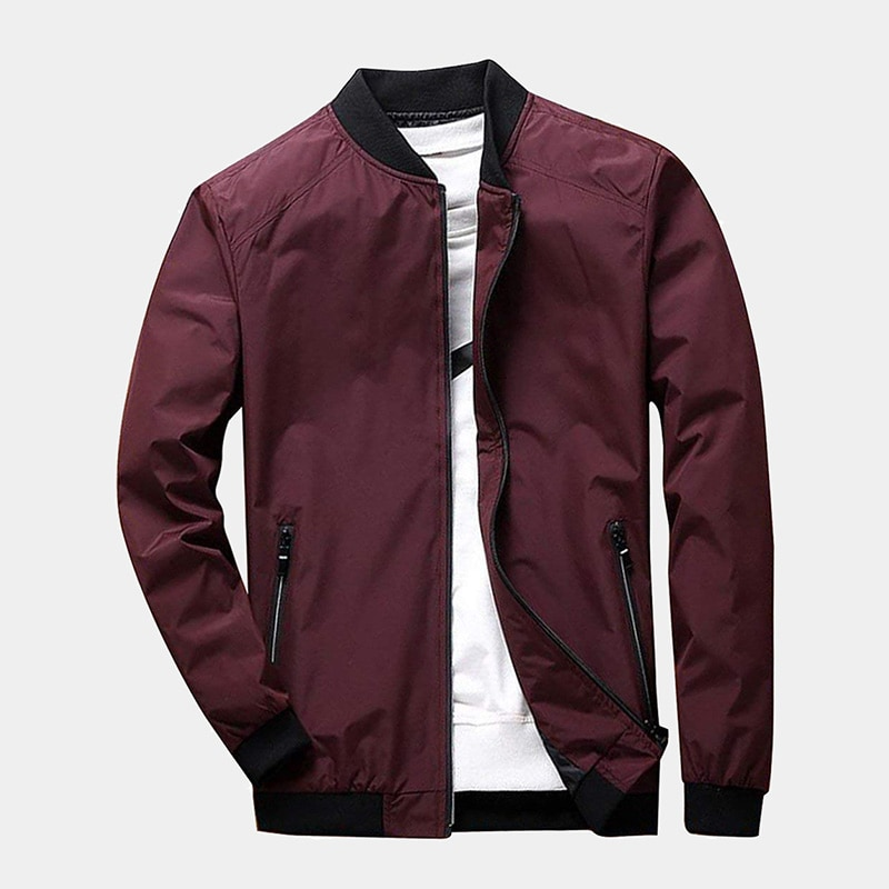 best burgundy bomber jacket men PrettyChic luxury style - Luxe Digital