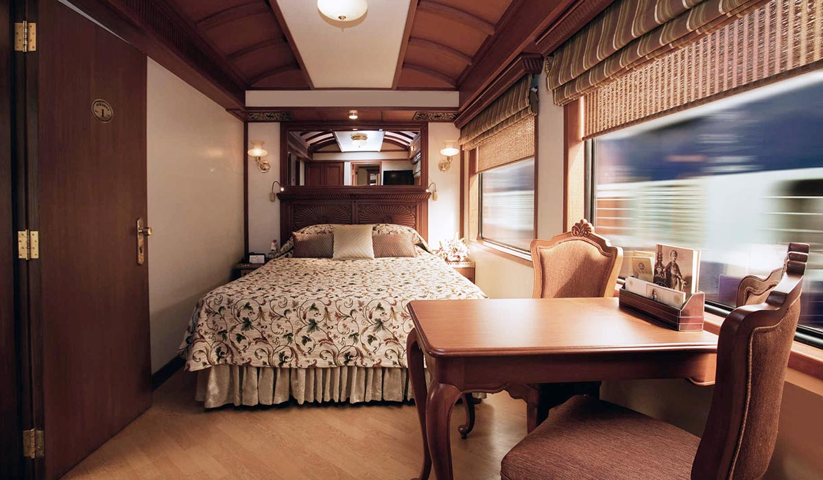 Maharajas Express luxury train bedroom India tour - Luxe Digital
