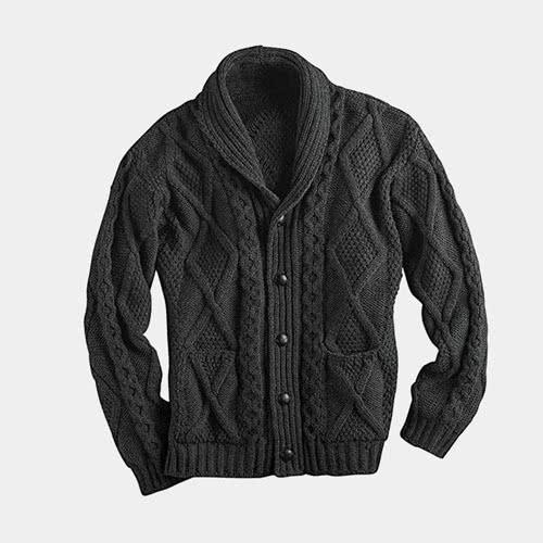 Casual dress code men style Irish knitwear cardigan - Luxe Digital