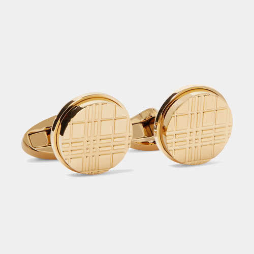 cocktail attire men Burberry gold cufflinks - Luxe Digital
