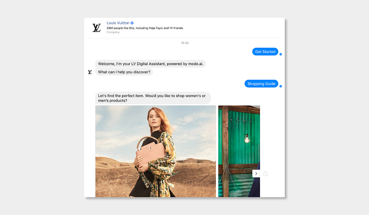 AI personalisation luxury ecommerce louis vuitton virtual assistant luxe digital
