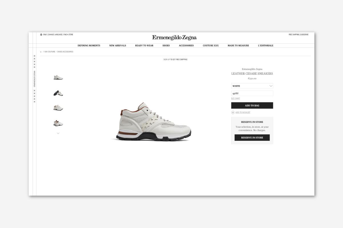 Experiential Luxury Ermenegildo Zegna My Cesar sneakers - Luxe Digital
