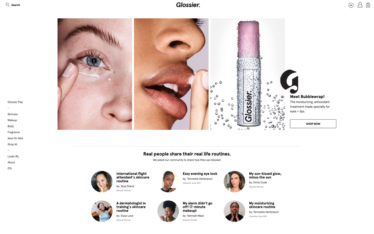 best direct to customer brands Glossier beauty - Luxe Digital
