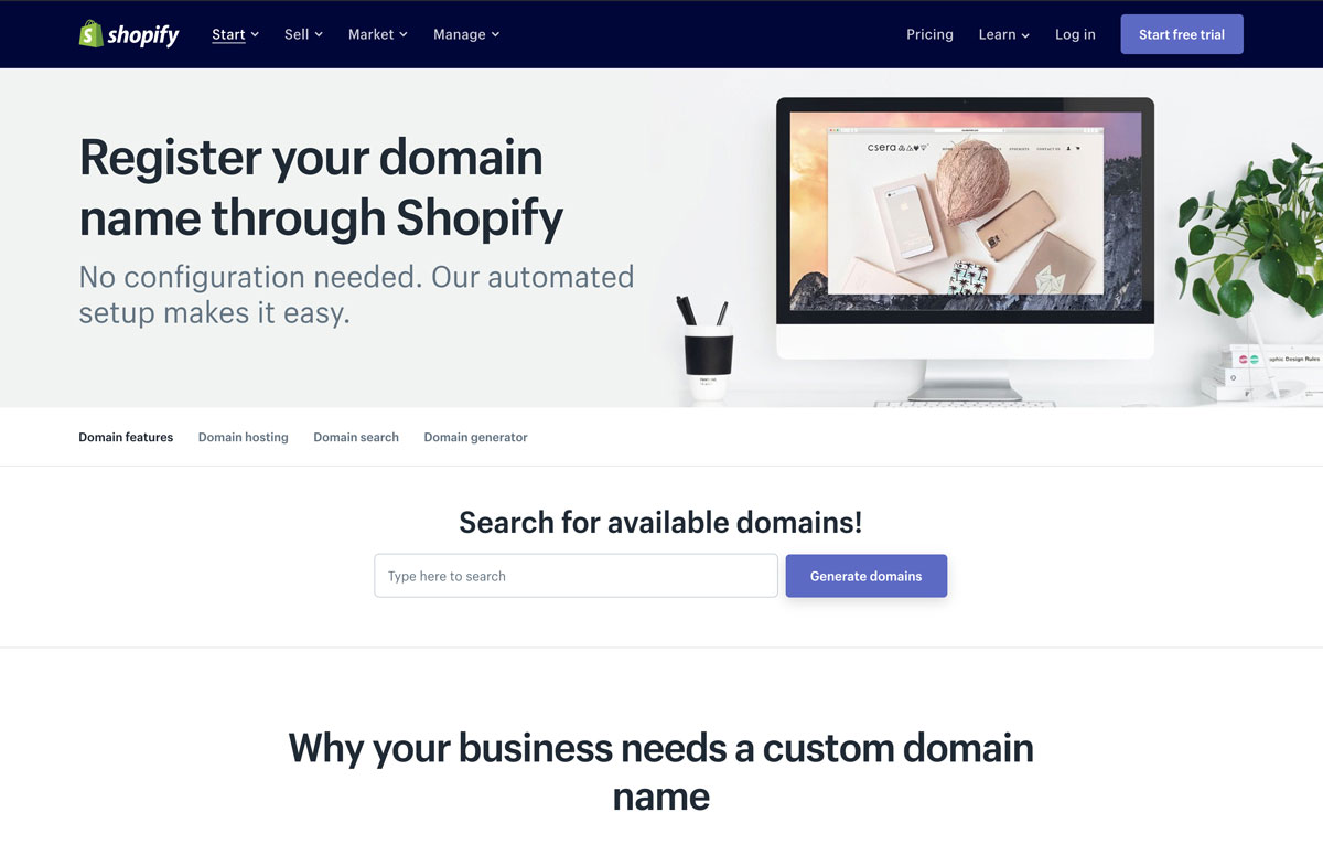 how to register a Shopify domain name - Luxe Digital