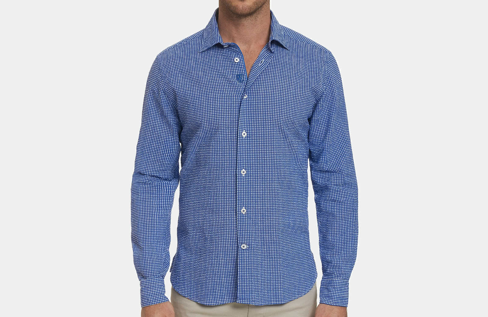 Robert Graham best men summer designer shirt blue checks - Luxe Digital