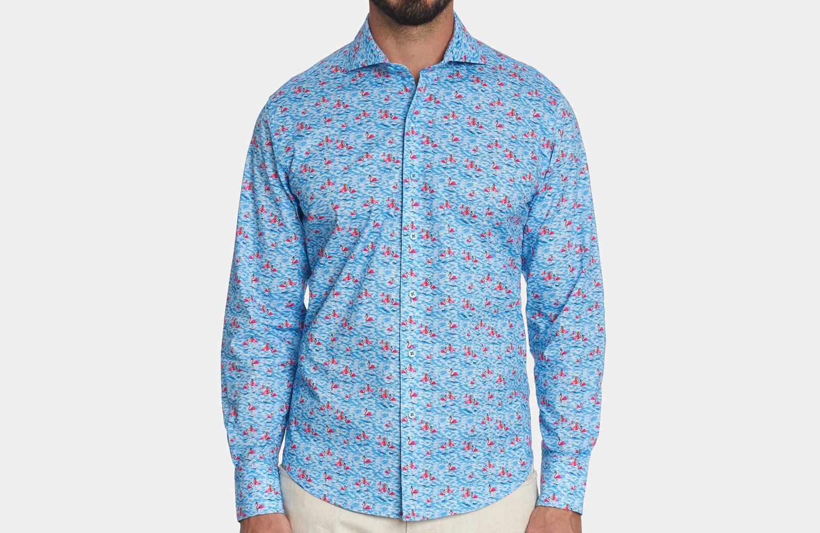 Robert Graham best men summer designer shirt blue sea - Luxe Digital