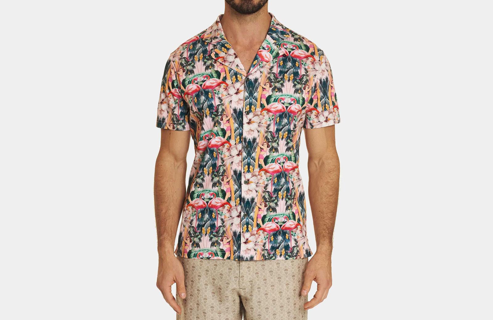 Robert Graham best men summer designer short sleeve shirt flamingo - Luxe Digital