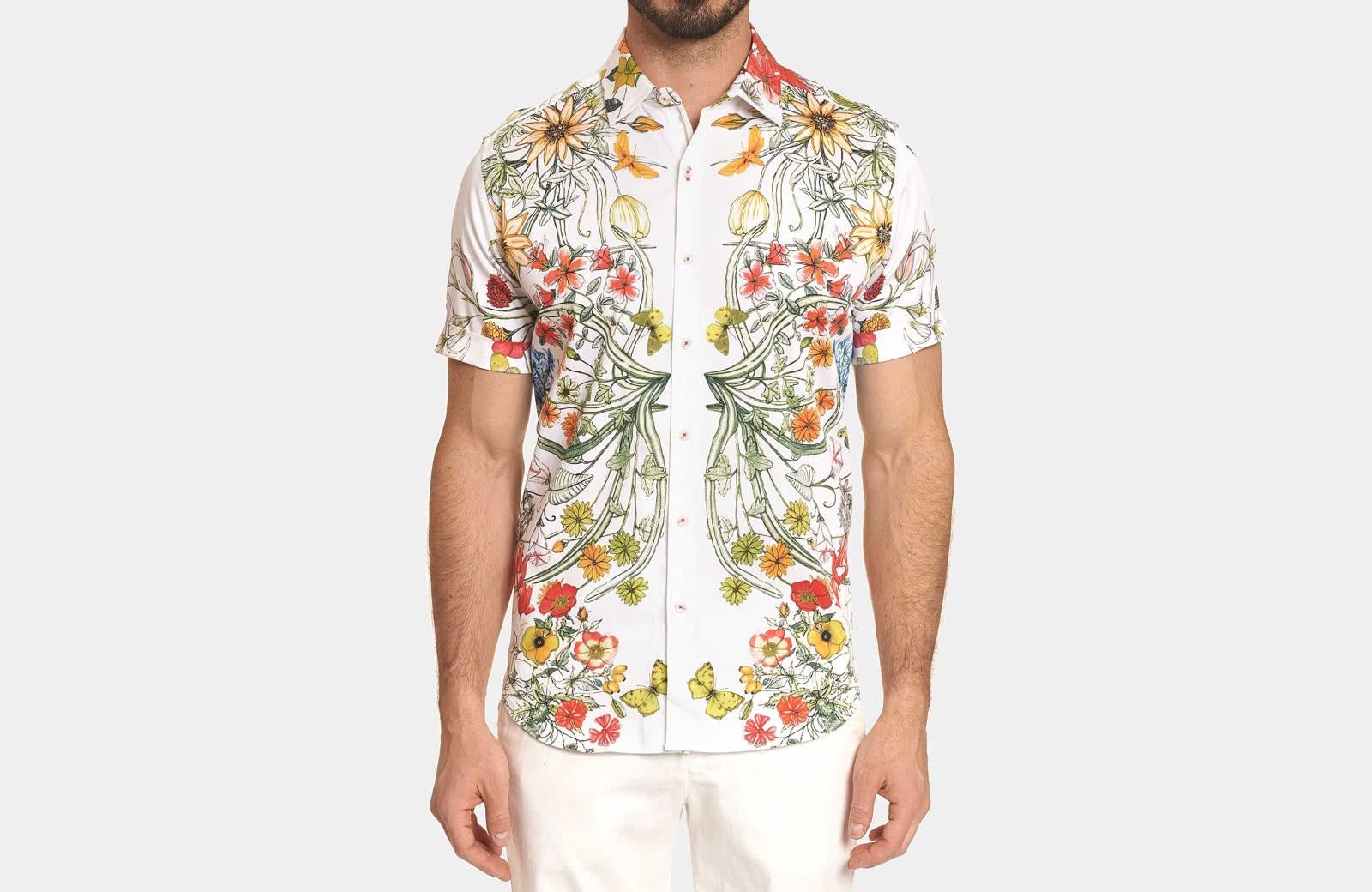 Robert Graham best men summer designer short sleeve shirt floral pattern - Luxe Digital