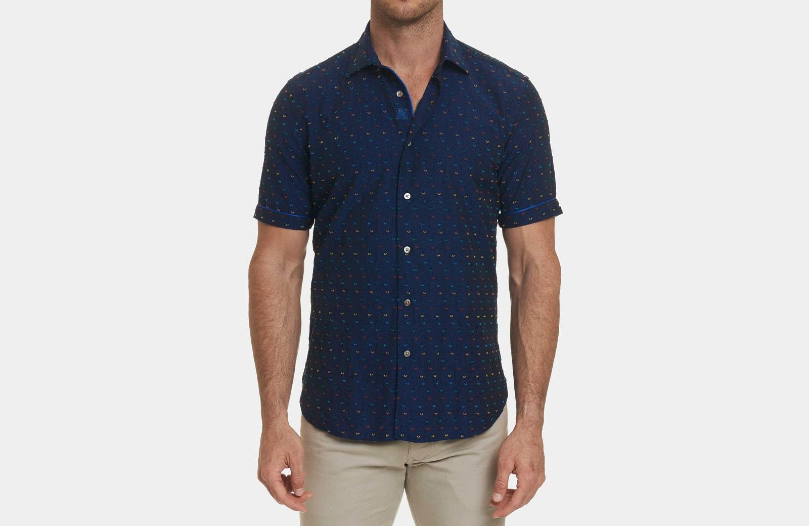 Robert Graham best men summer designer short sleeve shirt navy blue - Luxe Digital