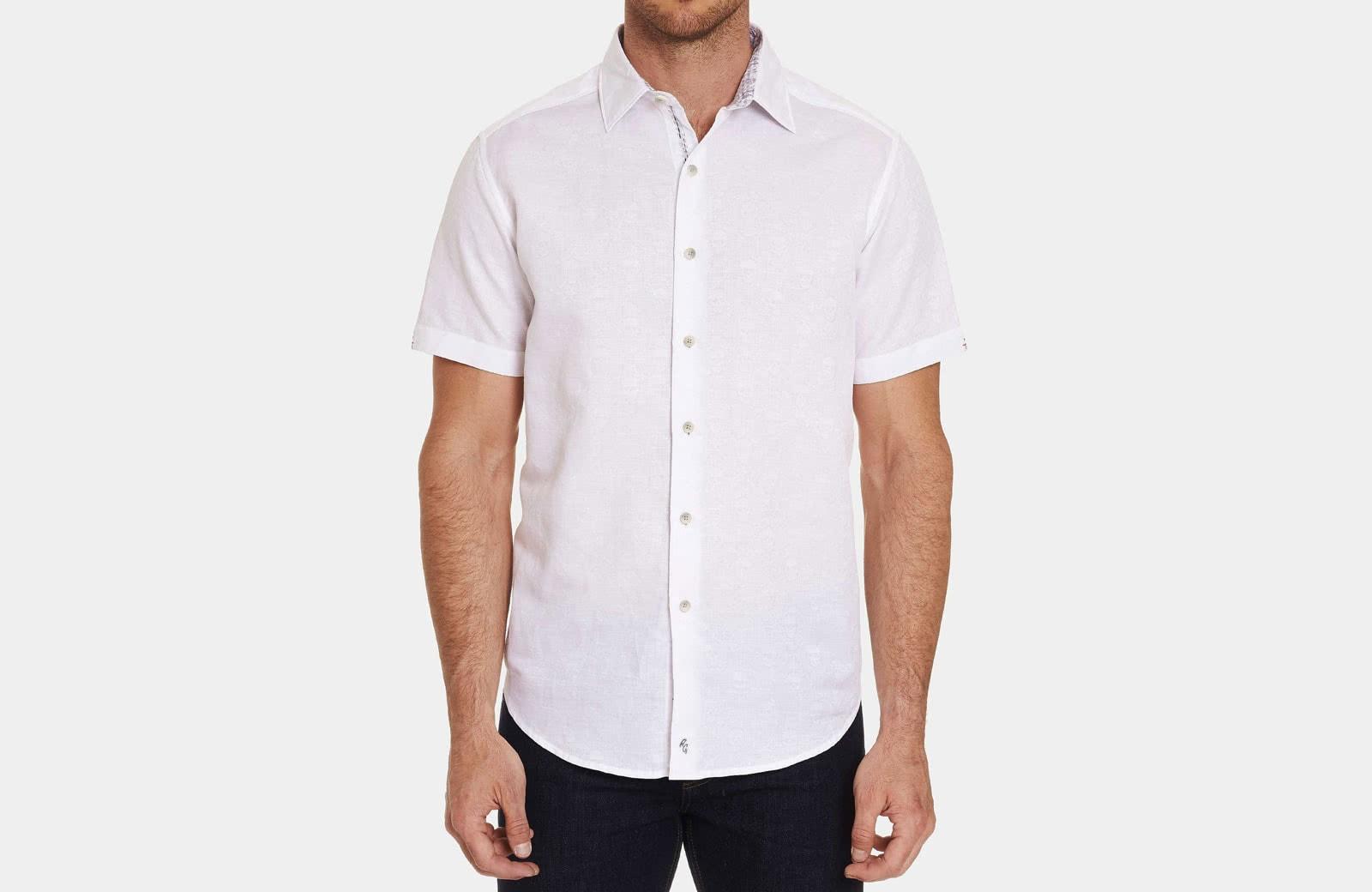 Robert Graham best men summer designer short sleeve shirt white - Luxe Digital