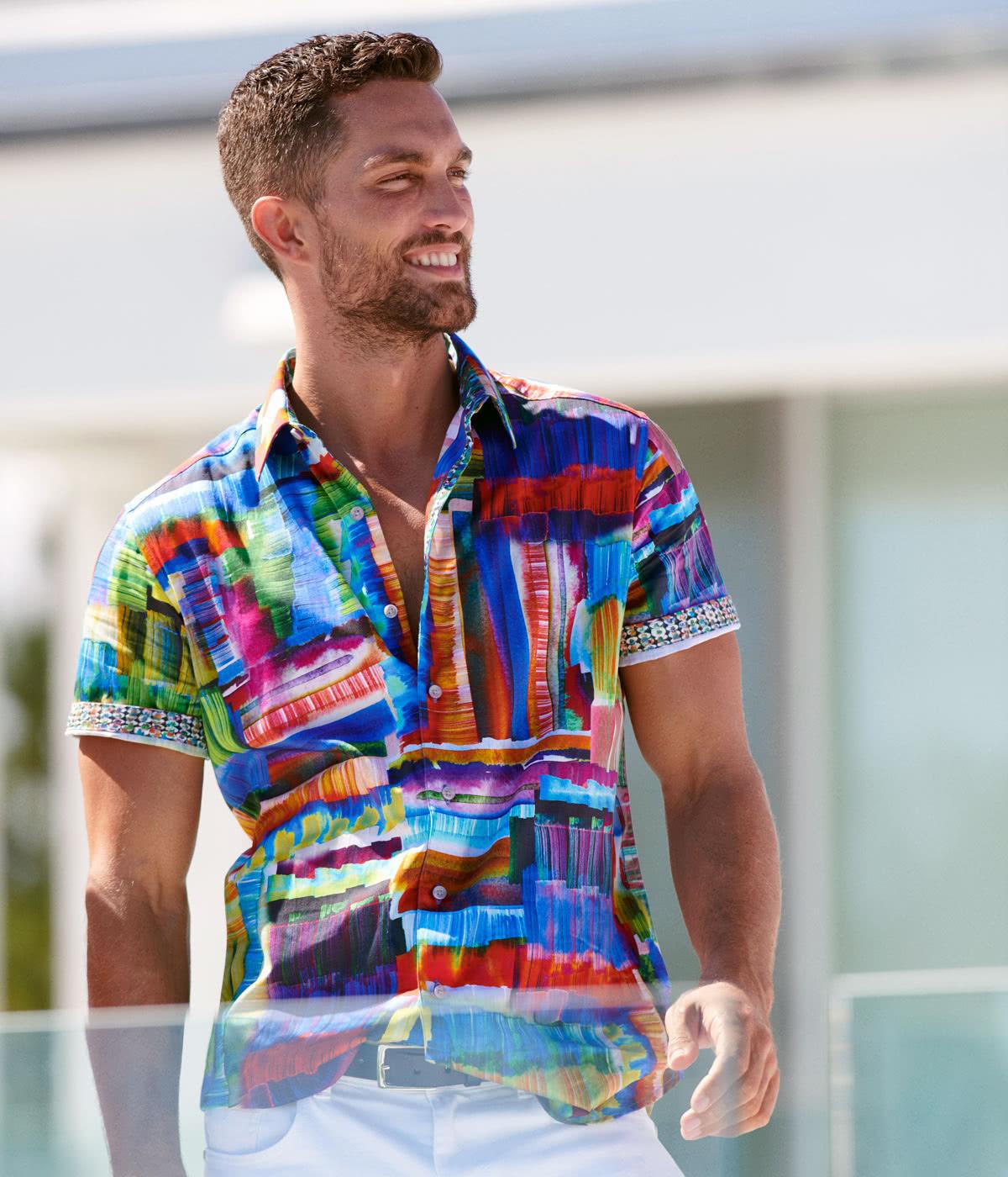 Robert Graham best men summer short sleeve shirts designer - Luxe Digital