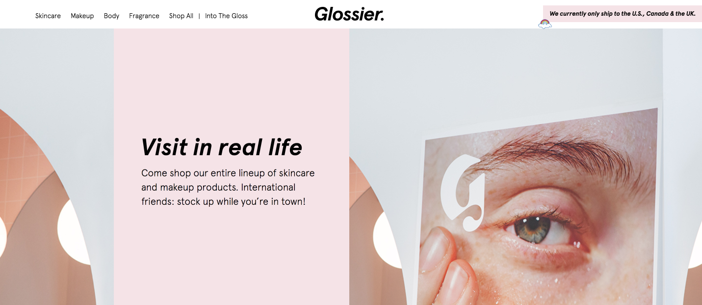 Glossier digital native brand showroom Luxe digital future online luxury retail