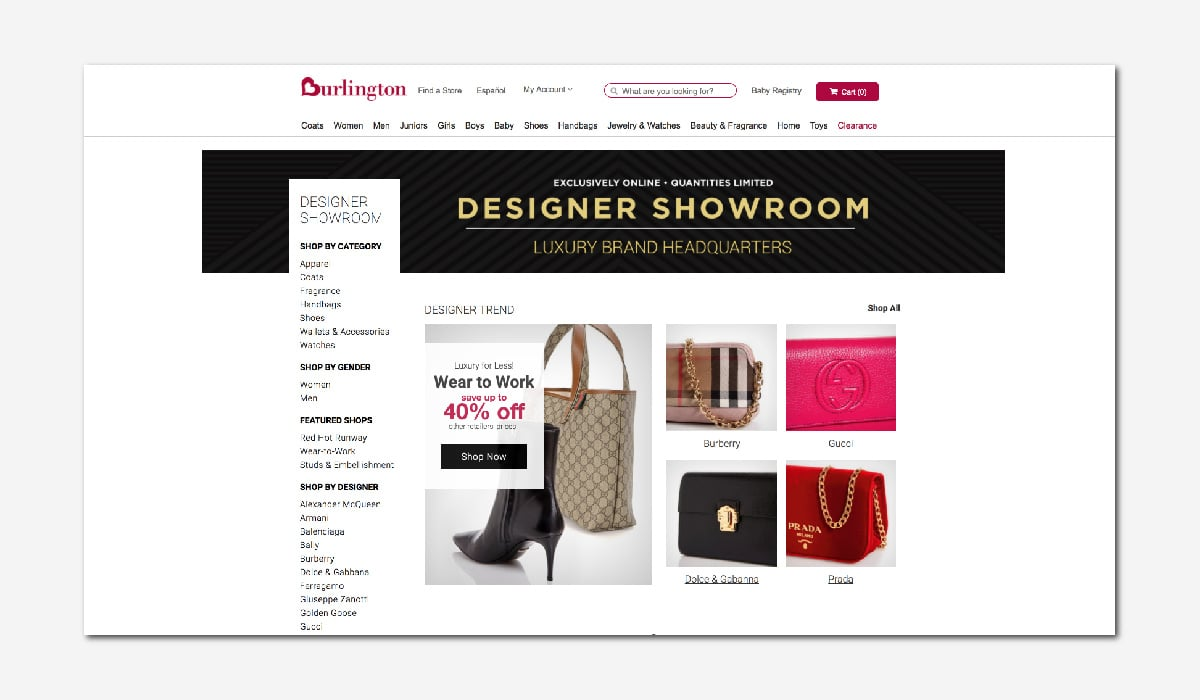 online luxury private sales discount website Burlington Luxe Digital